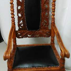 Barock chair with black leather