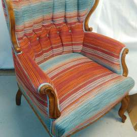 Colorful Rokokoo chair in fabric from Harleqin
