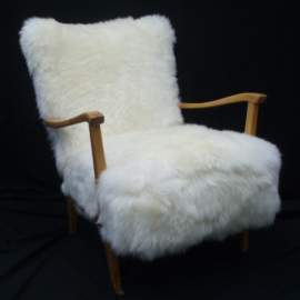 K-chair upholstered with sheepskin