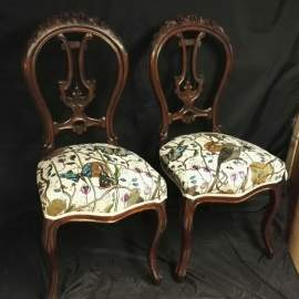 Small Rococo-chairs reupholstered with fabric from Nadja Wedin design