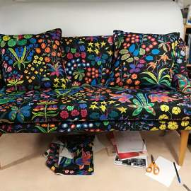 Midcenturymodern sofa, recovered with Svenskt tenn fabric