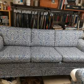Three seater sofa recovered in Madigan Chaumont denim