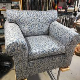 Lazy chair recovered with Madigan Chaumont denim fabric